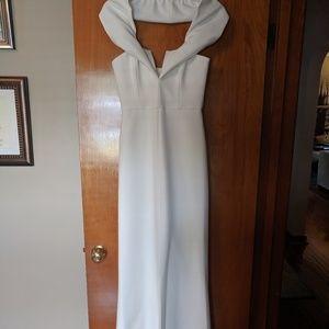 BGBGMaxazria White Off the Shoulder Gown